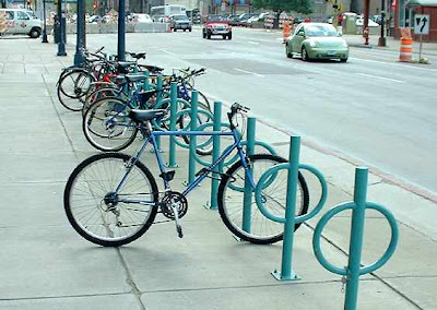 Image of bike racks on Hennepin Avenue in Minneapolis