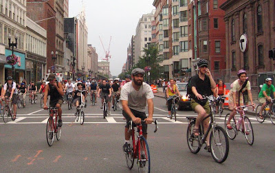 Image of bicyclists at Boston Critical Mass