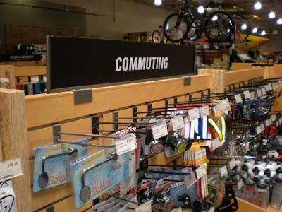 Image of commuting signage in an REI store's bike section