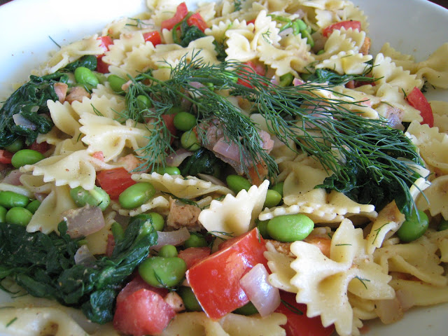 salmon edamame pasta salad