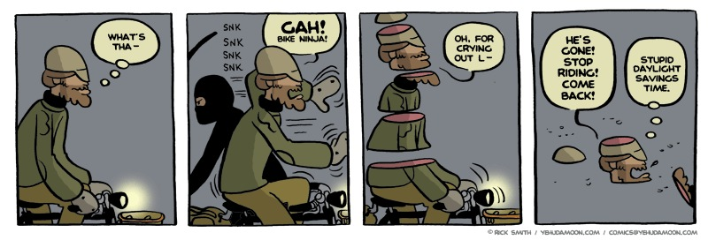 Yehuda Moon bike ninja comic, copyright Rick Smith