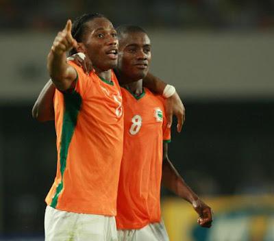 Didier Drogba and Salomon Kalou, Cote D'Ivoire - Nigeria