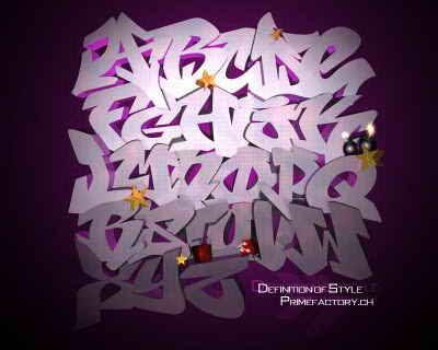 3D Graffiti Alphabet Letters Purple Style