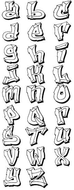 Bevel Style Graffiti Alphabet Letters