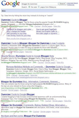 SERP of blogger for dummies