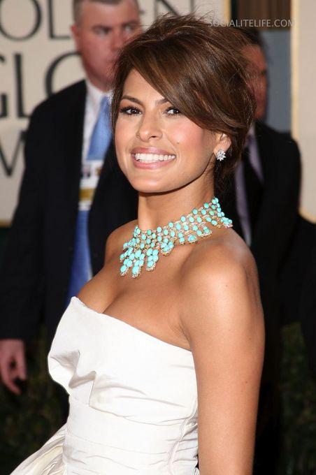 Eva Mendes Flaunts A Bold Turquoise Necklace