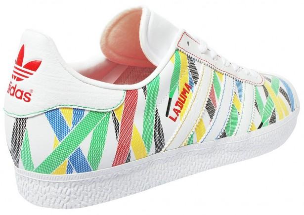 finest selection 8b9cf b0338 ... die Oberfläche mit bunten Schnürsenkeln bedrickt ist. Auch der weiße  Schuh zeigt  Adidas Gazelle 2 Laduma Originals ...