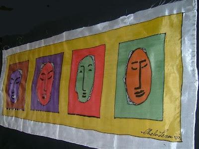 Caras y Colores', pintura en seda de Chelo Lera