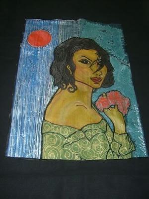 'Mujer con círculo rojo', pintura en seda de Chelo Lera