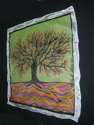 'Árbol de Primavera', pintura en seda de Chelo Lera
