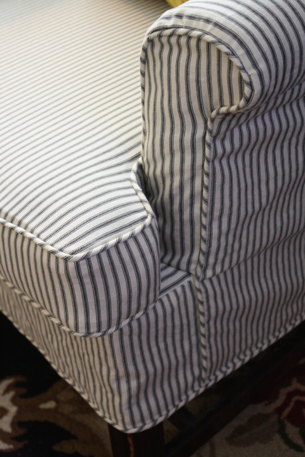 Navy Blue Striped Sofa Mia Flip Flop With Storage Make Ticking Wing Chair