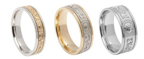 New Comfort Fit Celtic Shield Wedding Bands