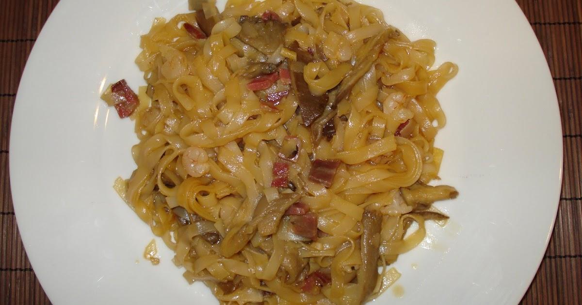 Cocinar sin gluten tallarines de arroz con setas y gambas for Cocinar 6 tipos de arroz
