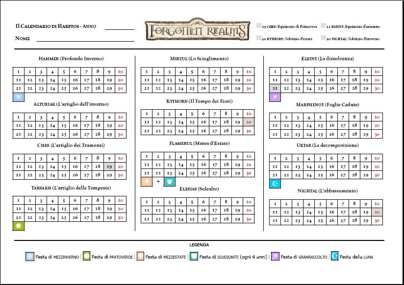 Calendario Faerun.Calendario Di Faerun Forgotten Realms Enciclopedia D D 3 5
