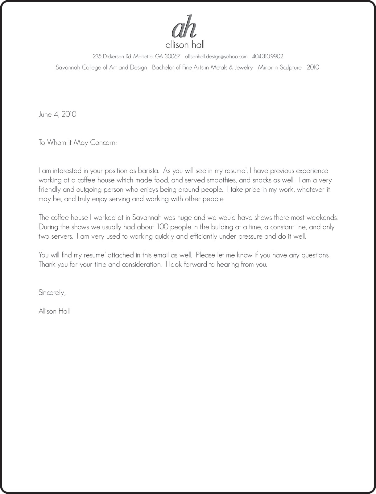 barista cover letter sample