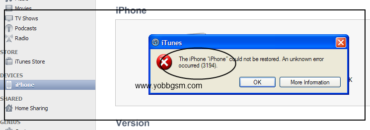 the iphone could not be restored 3194 yobbgsm iphone 3g error 3194 when restoring solution 6877