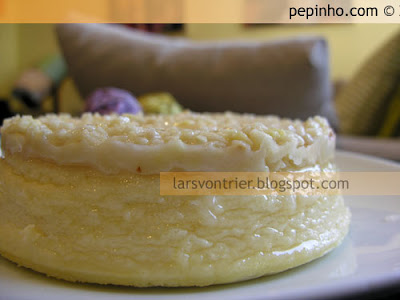 Tarta esponjosa de queso y cobertura de almendra