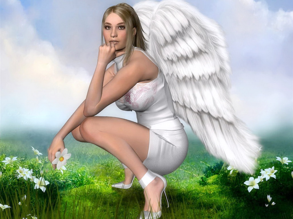 Beautiful fantasy angels are