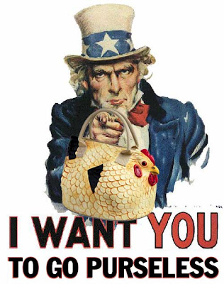 Uncle Sam holding a chicken purse, saying I want you to go purseless
