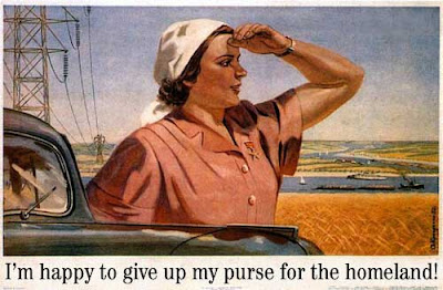 Soviet realism poster of a peasant woman gazing into the distance. Headline at bottom reads, I'm happy to give up my purse for the homeland!
