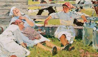 Three milkmaids in white with kerchiefs lounge on grass against a fence, laughing