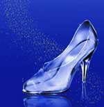 A glass slipper on a blue background