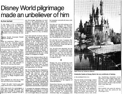 Commentary clipping with photo of the Cinderella Castle by Catherine Watson