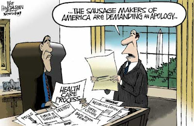Obama at his desk, buried in paper, while an aide says The sausage makers of America are demanding an apology
