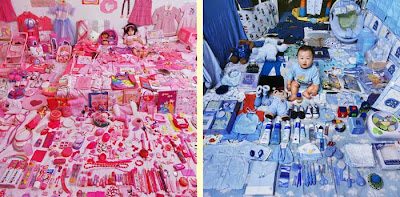 Two photos of young children, girl on left surrounded by pink toys and stuff, boy on right surrounded by blue