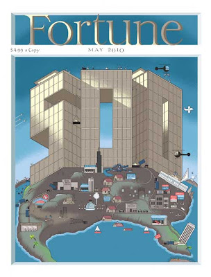 Fortune magazine cover with dominant 500 drawn as a glass-walled building, squatting on the U.S.