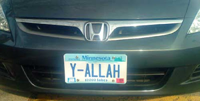 Car with license plate that reads Y-ALLAH