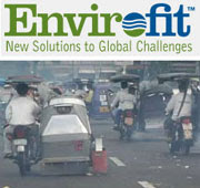 Envirofit logo over photo of a scooter spewing exhaust