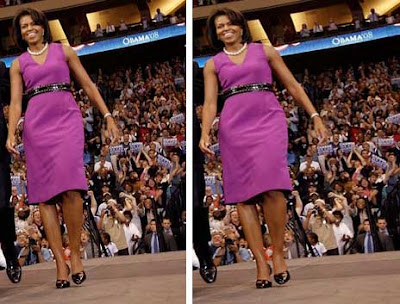 Side by side photos of Michelle Obama in a purple dress