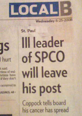 Newspaper headline: Ill leader of SPCO will leave his post