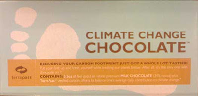 Wrapper of a chocolate bar labeled Climate Change Chocolate