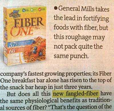 Star Tribune article refers to new fangled-fiber instead of new-fangled fiber