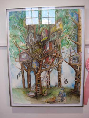 Watercolor of a colorful, multi-roomed tree house