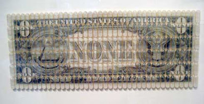 Oversized money that says NONE instead of ONE, seen through clear plastic pills