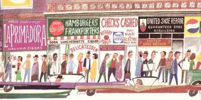 Illustration of small businesses with interesting signs, many passersby