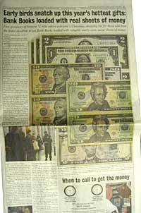 Full page ad that appears to be covered in life-sized $20, $10, $5, $2 and $1 bills
