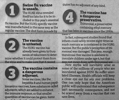 Article with bold subheads 1 Swine flue vaccine is unsafe, 2 The vaccine is untested, 3 The vaccine contains a dangerous adjuvant, 4 The vaccine has a dangerous preservative