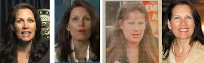 Four headshots of women who could be Michele Bachmann