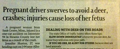 Long detailed headline explaining woman lost fetus after her car collided with a deer