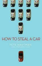 Blue cover of How to Steal a Car shows a small red car followed by a pyramid shape of police cars