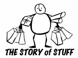 Story of Stuff graphic showing a cartoon person carrying lots of shopping bags