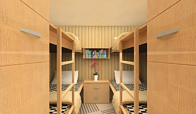 Four bunk beds, sort of like a Scandinavian four-bed ferry compartment