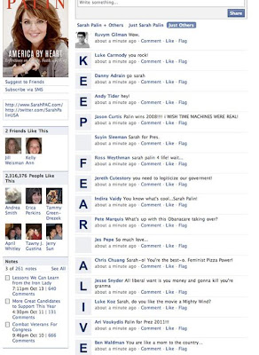 Sarah Palin's Facebook page, with the words KEEP FEAR ALIVE spelled out using the profile pictures of 15 consecutive wall posts