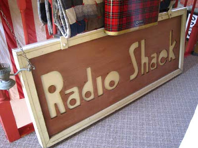 Wooden Radio Shack sign
