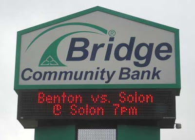 Bridge Community Bank sign in Solon, Iowa