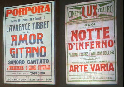 Two Italian cinema posters with wood type